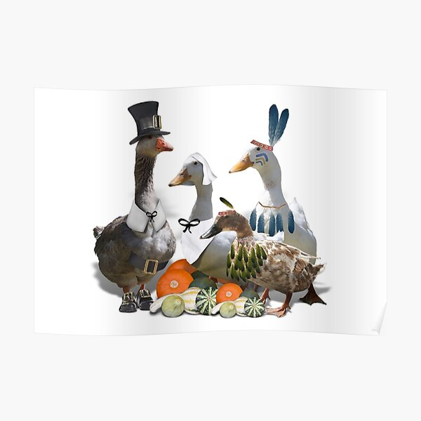 Pilgrims & Indians Thanksgiving Goose and Ducks Poster