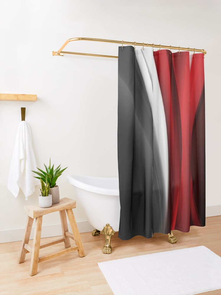 Alternate view of Red And White Shower Curtain