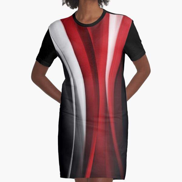 Red And White Graphic T-Shirt Dress