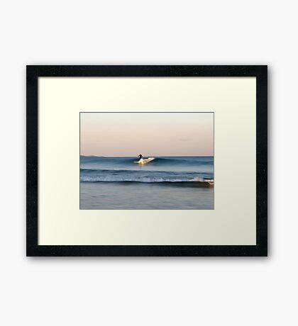 Lone Surfer at Dusk Framed Print