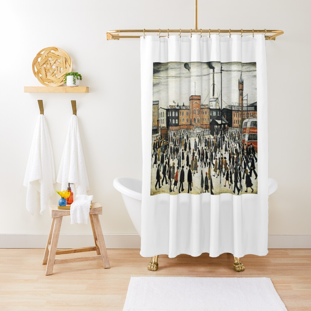 LOWRY, Artist, Matchstick men, Laurence Stephen Lowry, Going to Work. Shower Curtain