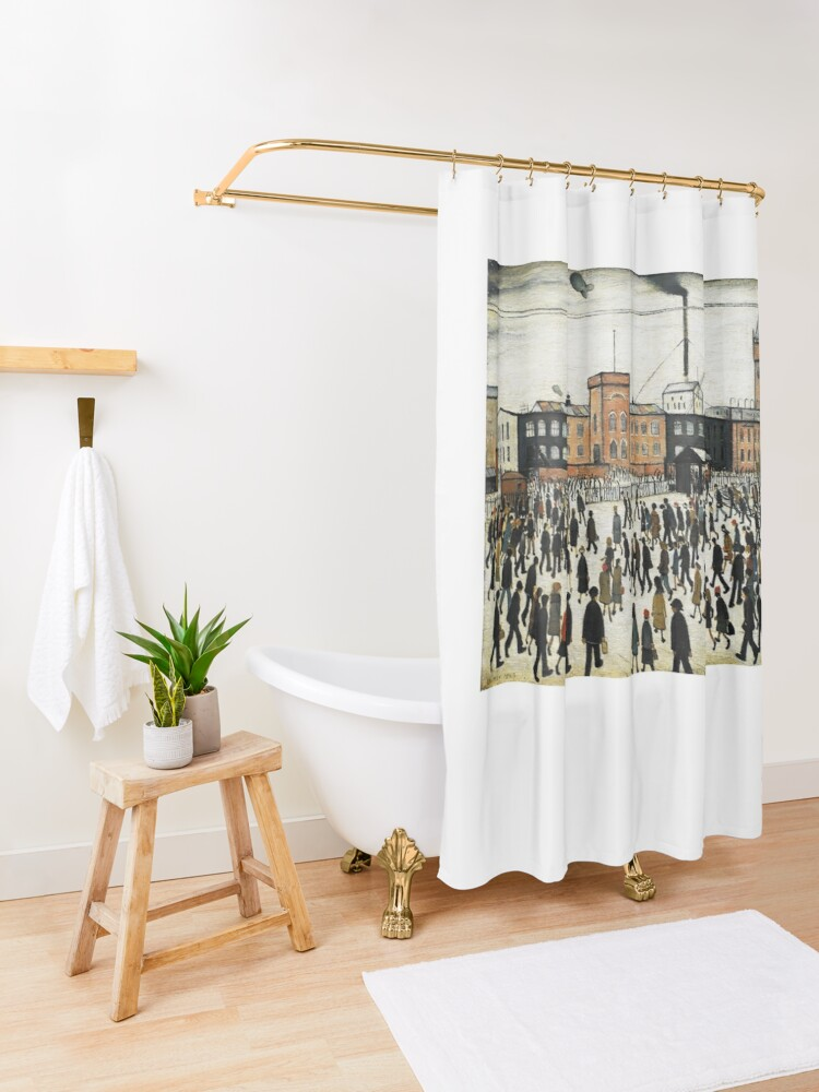 Alternate view of LOWRY, Artist, Matchstick men, Laurence Stephen Lowry, Going to Work. Shower Curtain