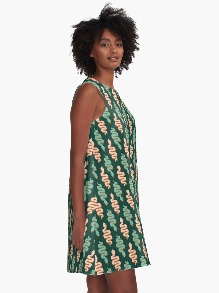 Alternate view of Pink and green snakes A-Line Dress