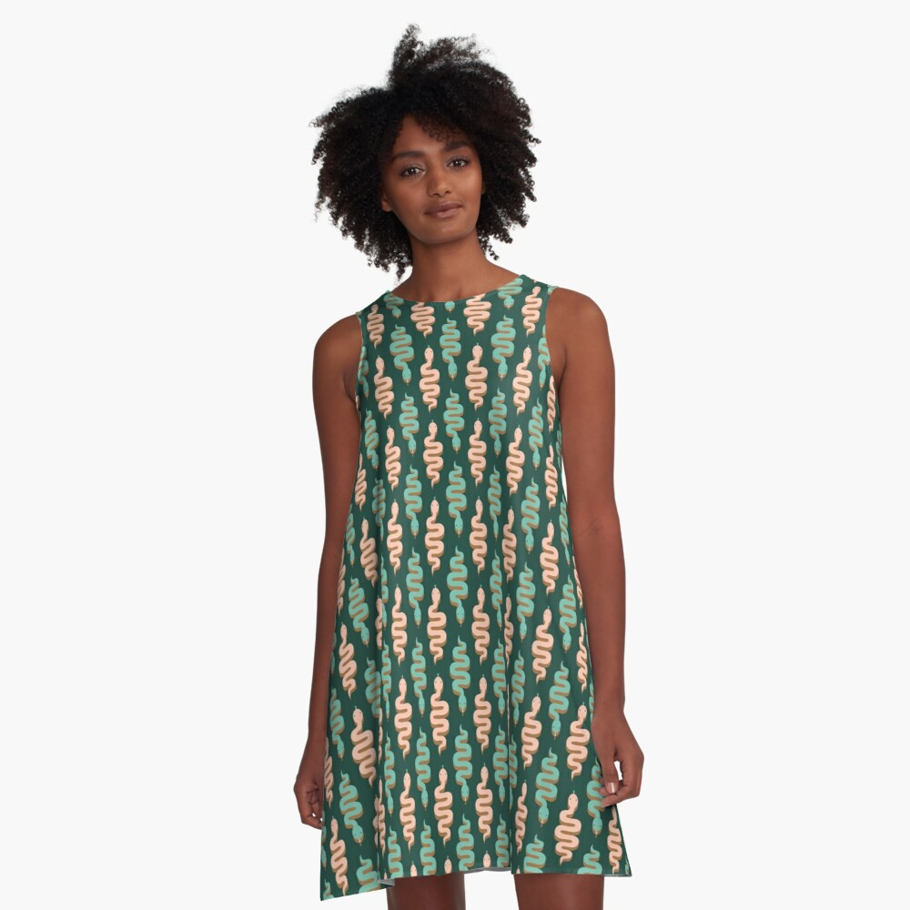 Pink and green snakes A-Line Dress