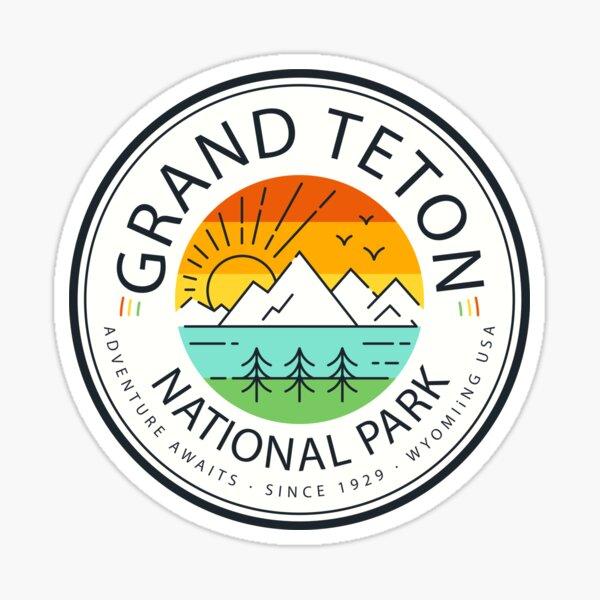 Grand Teton National Park Retro Sticker Sticker