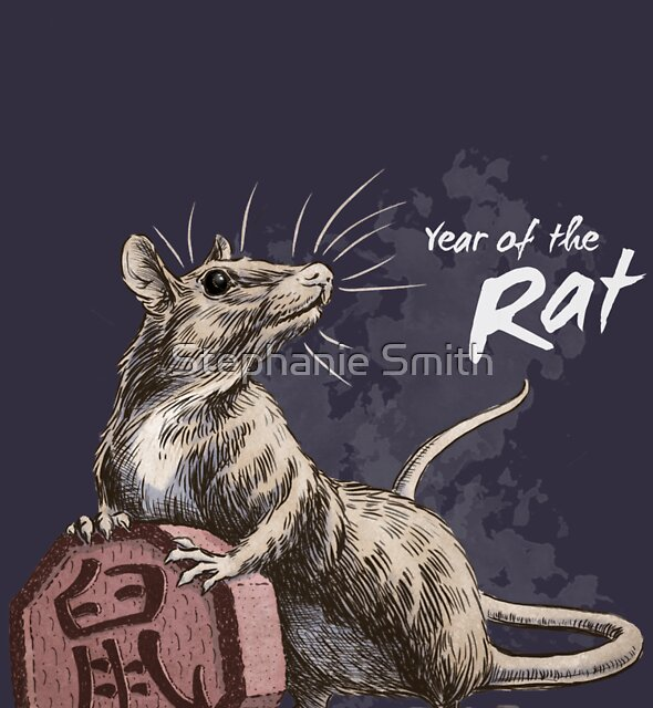 Year of the Rat (for dark shirts) by Stephanie Smith