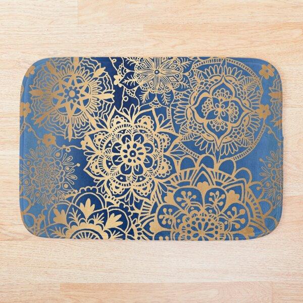 Blue and Gold Mandala Pattern Bath Mat