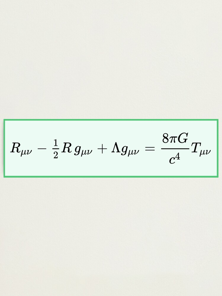 Alternate view of Einstein field equations EFE: General Theory of Relativity - Fundamental Interaction of Gravitation Photographic Print