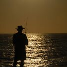 Sunset Fishing Silhouette I by Tom Deters