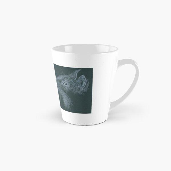 Cat - white pencil on black Tall Mug