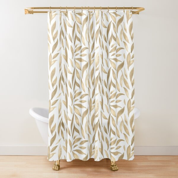 Watercolor Leaves - Cappuccino  Shower Curtain