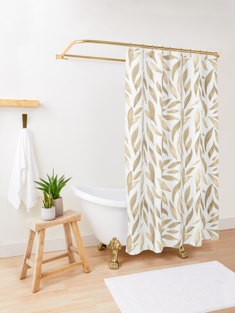 Alternate view of Watercolor Leaves - Cappuccino  Shower Curtain