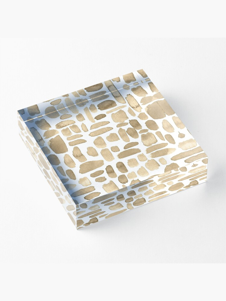 Alternate view of Watercolor Paint Brush Stroke Pattern - Cappuccino  Acrylic Block