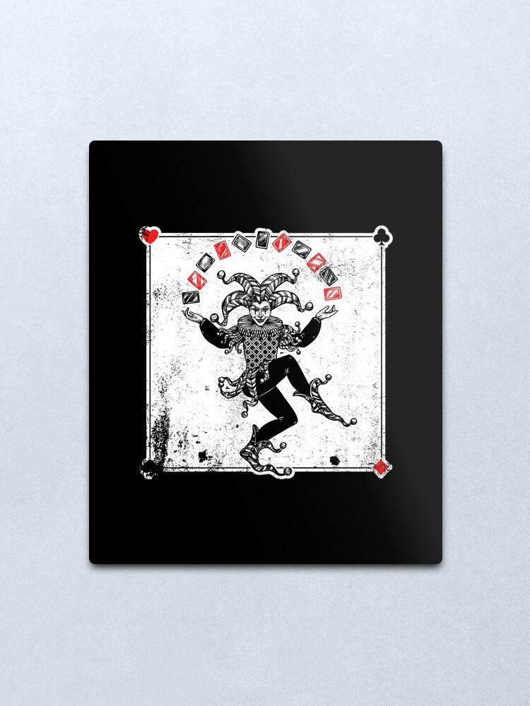 """joker juggling cards  distressed"" metal print"