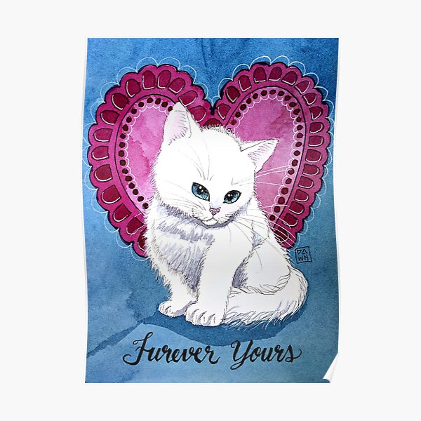 Pop Art White Kitten Cat Valentine Watercolor Painting Poster