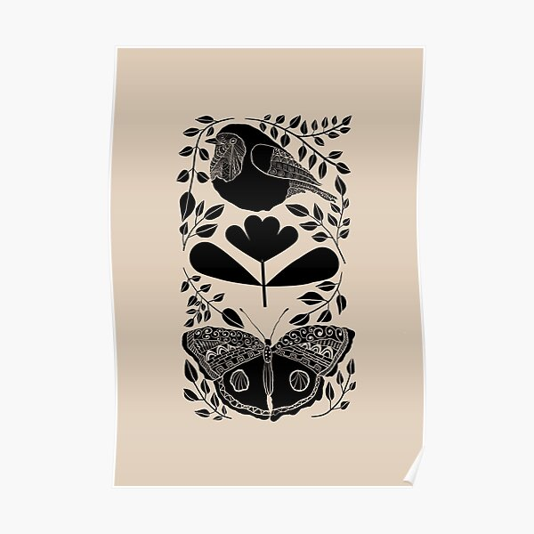 Folk design with bird, butterfly and plants  Poster