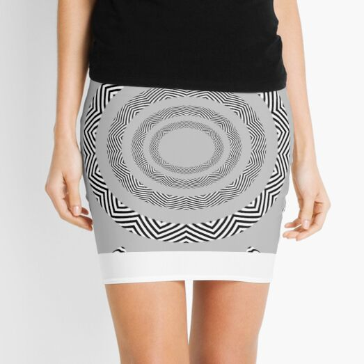 #Movement #Monochrome #Illusion, #Abstract drawing, spiral,helix,scroll,loop,volute,spire,helical,winding,corkscrew Mini Skirt
