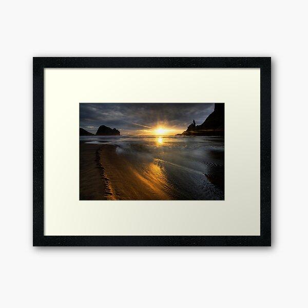 Into the sun, Piha Framed Art Print
