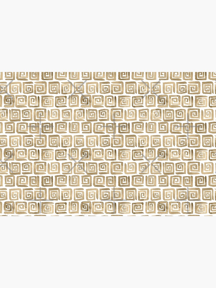 Watercolor Greek Key Pattern - Cappuccino by annieparsons