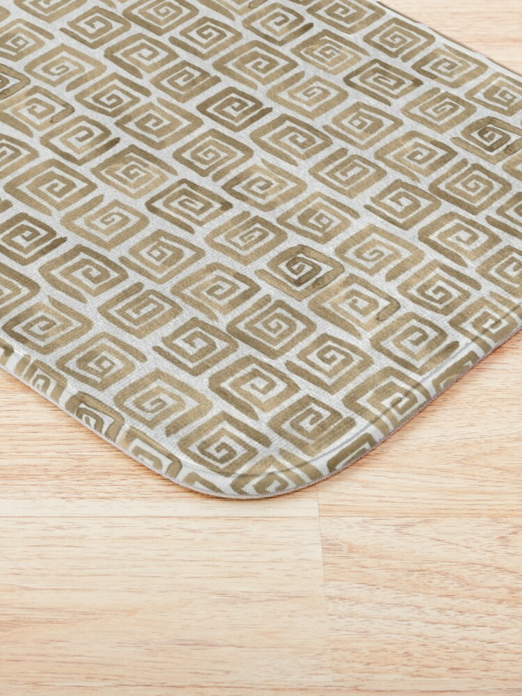 Alternate view of Watercolor Greek Key Pattern - Cappuccino Bath Mat