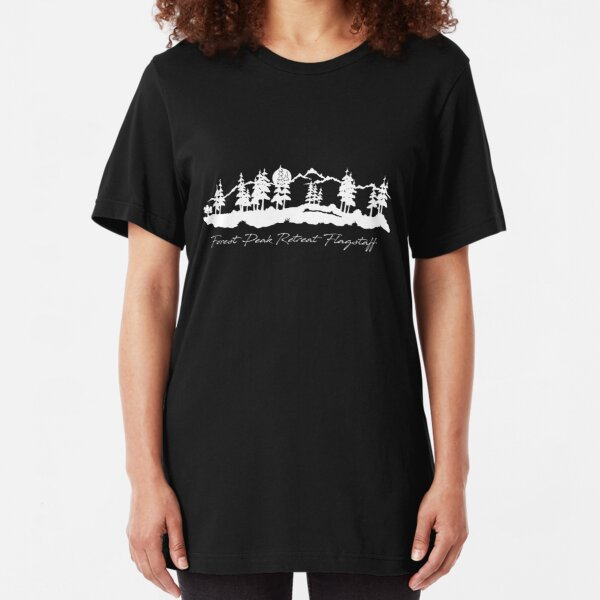 Forest Peak Retreat White Logo  - From ccnow.info Slim Fit T-Shirt