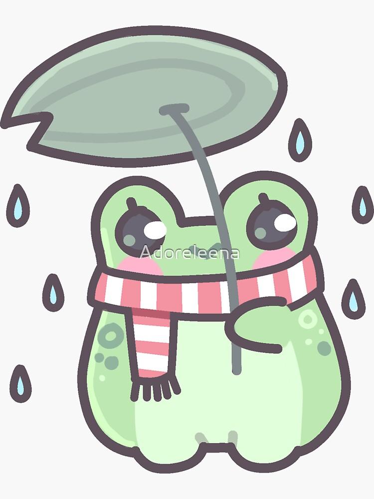 rana bajo la lluvia de Adoreleena