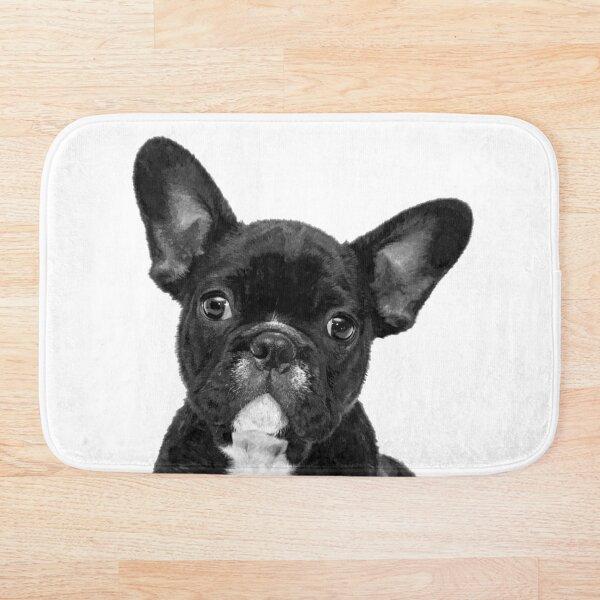 Black and White French Bulldog  Bath Mat