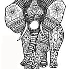 Color Your Own Elephant Zentangle Art by BarefootDoodles
