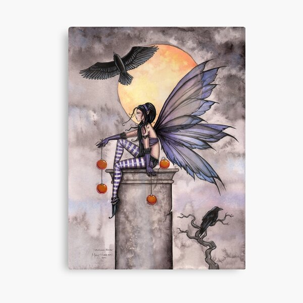 Autumn Raven Fantasy Gothic Fairy and Ravens  Canvas Print