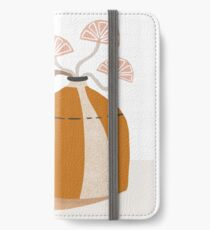 Orange pottery with plants iPhone Wallet/Case/Skin