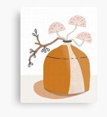 Orange pottery with plants Metal Print