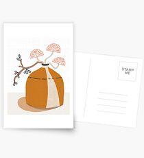 Orange pottery with plants Postcards