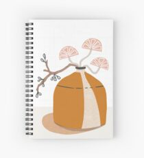 Orange pottery with plants Spiral Notebook