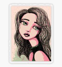 Green-Eyed Girl Transparent Sticker