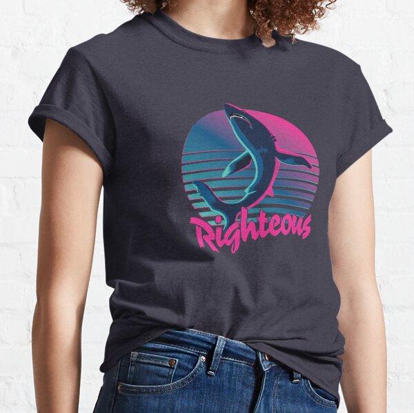 Righteous Shark 80s Retro Sunset Classic T-Shirt