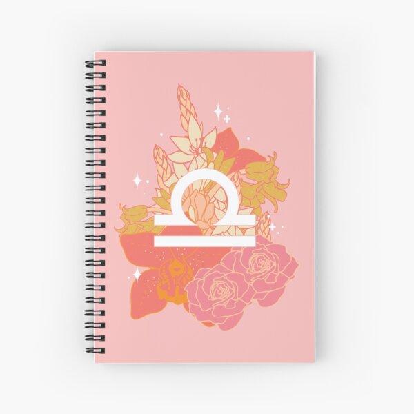 Libra Flowers - PINK Spiral Notebook