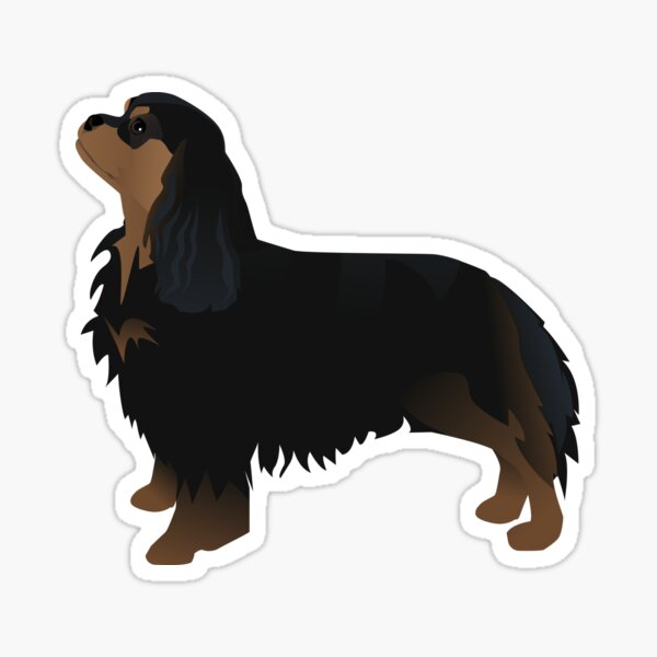 Cavalier King Charles Spaniel Black and Tan Dog Breed Silhouette Sticker
