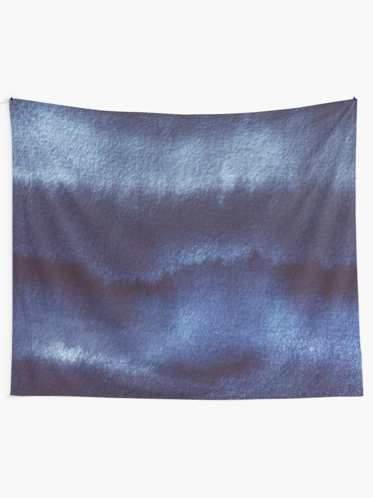 Alternate view of Indigo Watercolor Abstract  Tapestry