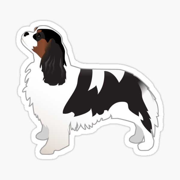 Cavalier King Charles Spaniel Tri-Color Dog Breed Silhouette Sticker