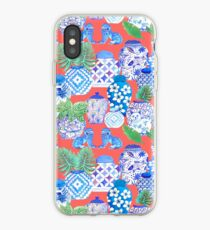 chinese ginger jars on coral iPhone Case