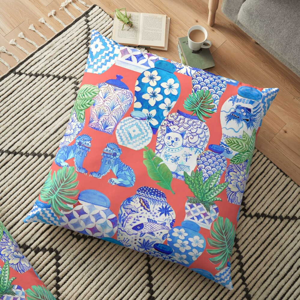 chinese ginger jars on coral Floor Pillow