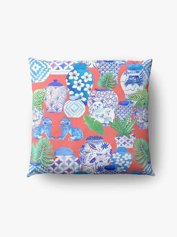 Alternate view of chinese ginger jars on coral Floor Pillow