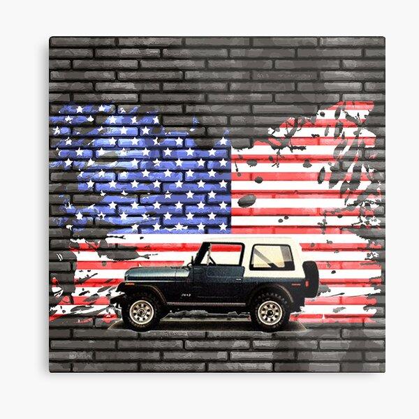 CJ Jeep over USA flag Metal Print