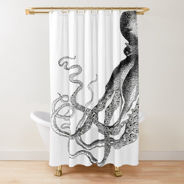 Half Octopus | Left Side | Vintage Octopus | Tentacles | Sea Creatures | Nautical | Ocean | Sea | Beach | Diptych | Black and White |  Shower Curtain