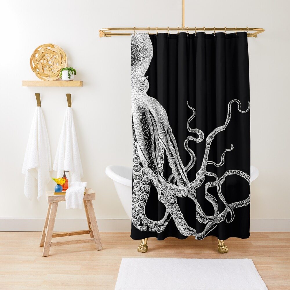 Half Octopus | Right Side | Vintage Octopus | Tentacles | Sea Creatures | Nautical | Ocean | Sea | Beach | Diptych | Black and White |   Shower Curtain