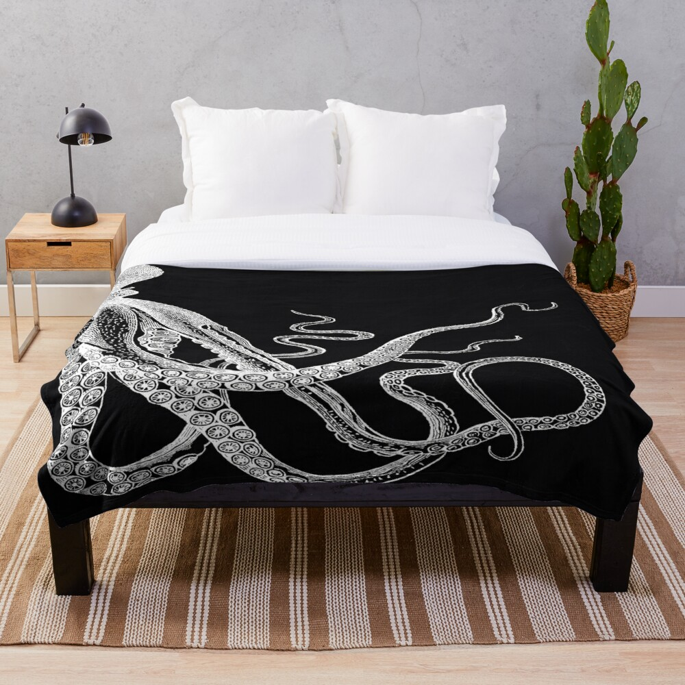 Half Octopus | Right Side | Vintage Octopus | Tentacles | Sea Creatures | Nautical | Ocean | Sea | Beach | Diptych | Black and White |   Throw Blanket