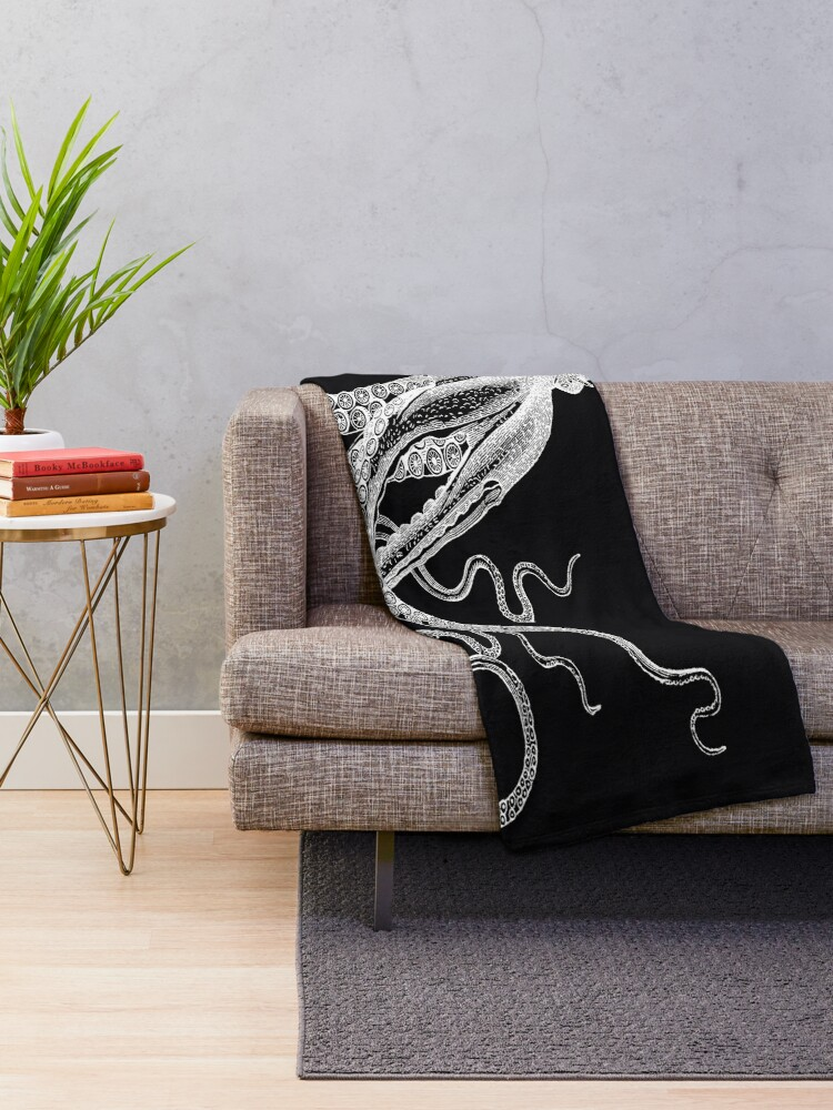 Alternate view of Half Octopus | Right Side | Vintage Octopus | Tentacles | Sea Creatures | Nautical | Ocean | Sea | Beach | Diptych | Black and White |   Throw Blanket