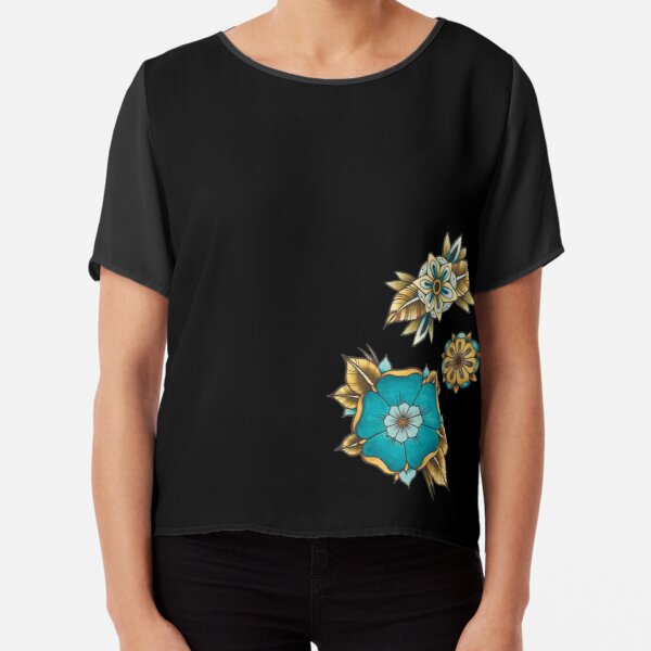 Blue and Gold watercolour flowers design Chiffon Top