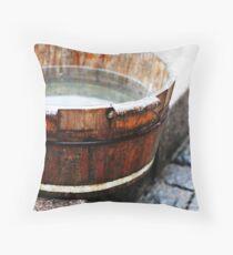 [wash]... foot washing bucket on boardwalk in China Throw Pillow