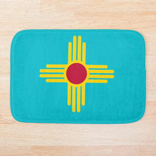 New Mexico Flag in Turquoise Bath Mat